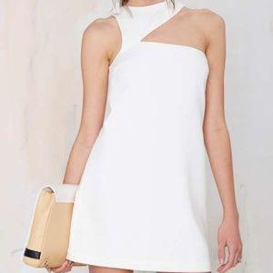 NEW!! White Asymmetrical Cutout Cocktail Dress